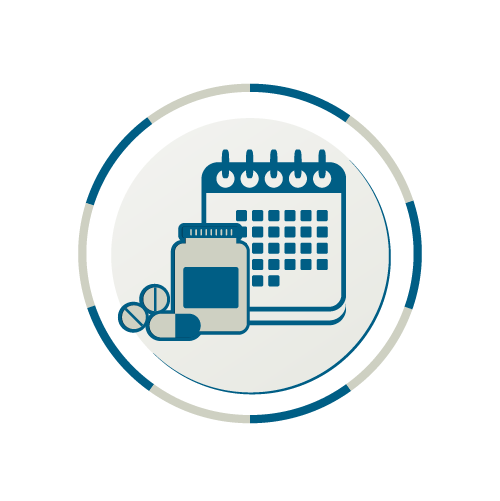Icon showing a calendar and medication