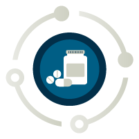Icon showing a pill bottle with medication