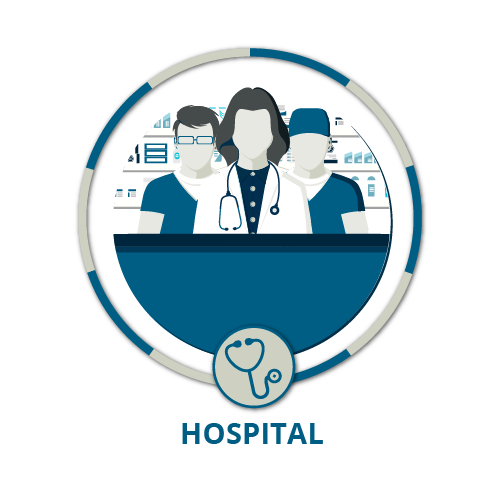Icon showing a female doctor male pharmacist and male surgeon