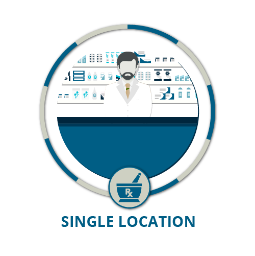 icon showing one male pharmacist in pharmacy