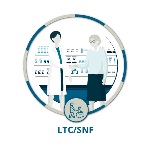 Icon showing female pharmacist helping elderly female patient in pharmacy